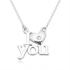 Briljantna ogrlica, srebro 925 – I heart you, verižica iz ovalnih členov