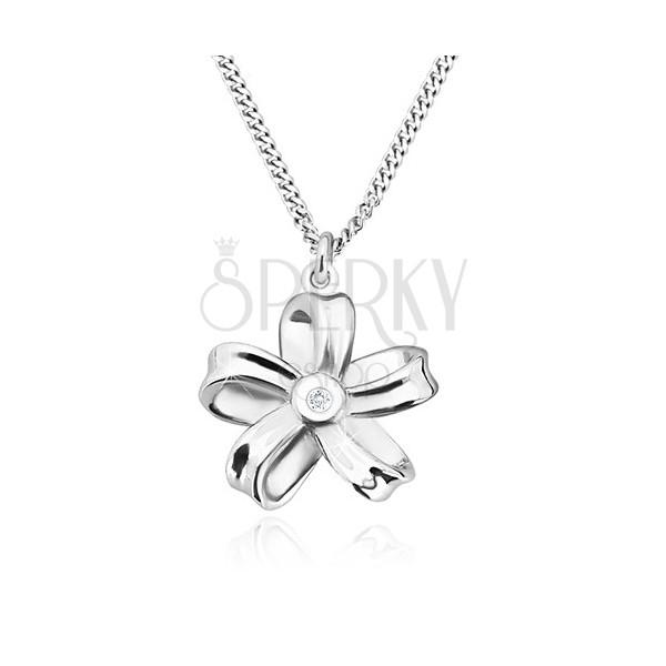 Ogrlica iz srebra 925 – sijoč trak, cvet s petimi cvetnimi listi in briljantom