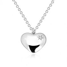 Ogrlica iz srebra 925 – sijoče srce z zvezdo in diamantom