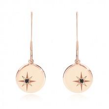 Črn diamant - uhani iz srebra 925 rožnato zlate barve, sijoč krog s severnico