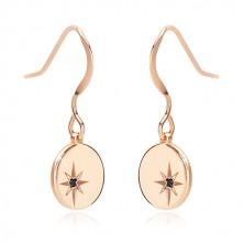 Uhani iz srebra 925 rožnato zlate barve – sijoč krog, severnica, črn diamant