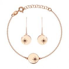 Komplet  iz srebra 925 rožnato zlate barve - zapestnica in uhani, krog s severnico, črn diamant