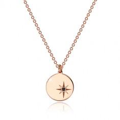 Ogrlica iz srebra 925 rožnato zlate barve - sijoč krog, severnica, črn diamant