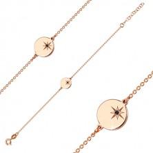Komplet iz srebra 925 rožnato zlate barve – zapestnica in ogrlica, krog, severnica, črn diamant