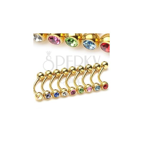 Zavit piercing za obrvi - zlate barve s cirkonoma