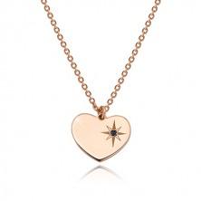 Ogrlica iz srebra 925 rožnato zlate barve – simetrično srce, severnica, črn diamant