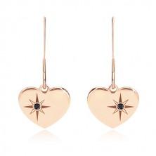 Črn diamant - uhani iz srebra 925, simetrično srce rožnato zlate barve, severnica