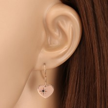 Uhani iz srebra 925 rožnato zlate barve – simetrično srce, severnica, črn diamant