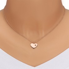 Komplet iz srebra 925 rožnato zlate barve – ogrlica in uhani, srce s severnico, črn diamant