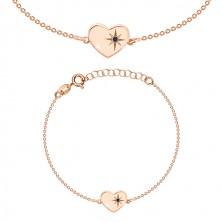 Komplet iz srebra 925 rožnato zlate barve – zapestnica in uhani, srce s severnico in diamant