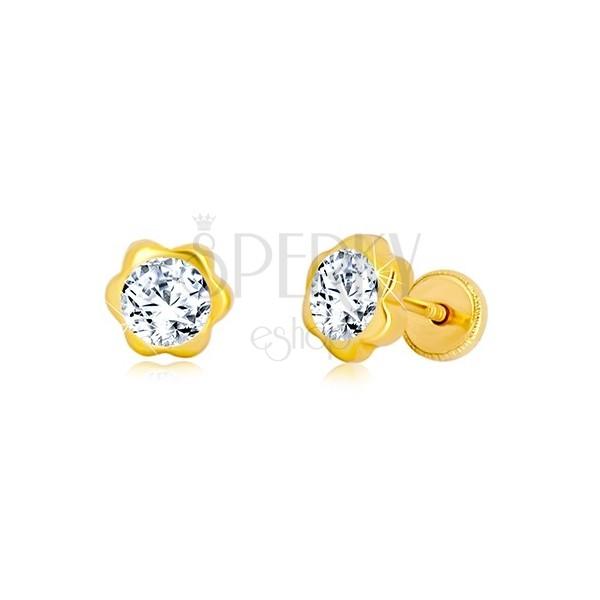 Uhani iz 14-k rumenega zlata – cvet, lesketav cirkon, čepki, ki se privijejo