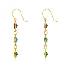 Uhani iz 9-k rumenega zlata – cirkonska zrna vijoličaste, nebesno modre in zelene barve