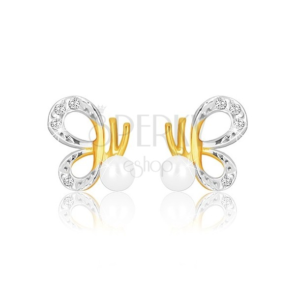 Uhani iz kombinacije 9-k zlata – metulj z izrezanimi krili in biserom