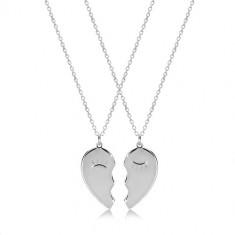 Komplet iz srebra 925 – ogrlici, razpolovljeno srce z očmi