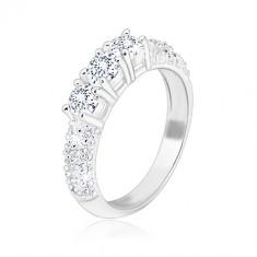 Zaročni prstan iz srebra 925 - trije lesketavi cirkoni, cirkončki na krakih