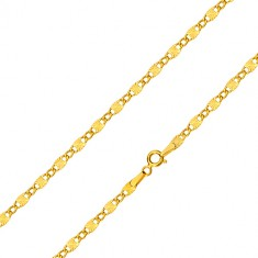 Verižica iz 14-k rumenega zlata - ovalni členi, podolgovati členi z zvezdastimi zarezami, 550 mm