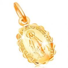 Obesek iz 18-k rumenega zlata - dvostranski medaljon z Devico Marijo