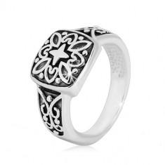 Prstan iz srebra 925 – okrasni kvadrat in ukrivljena kraka s patino