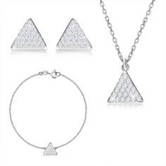 Tridelni komplet iz srebra 925 – enakostranični trikotnik s cirkoni, verižica