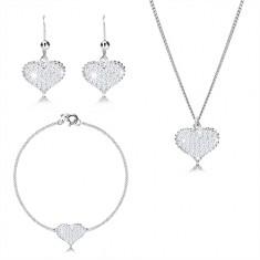 Tridelni komplet iz srebra 925 – simetrično srce s cirkoni, verižica z zaporednim vzorcem