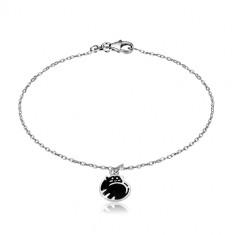 Zapestnica iz srebra 925 – v klobčič zvita mačka, črna glazura, sijoča verižica