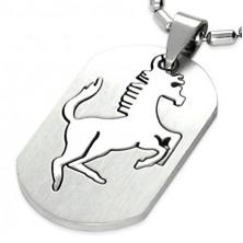 Obesek iz kirurškega jekla srebrne barve, izrezan konj