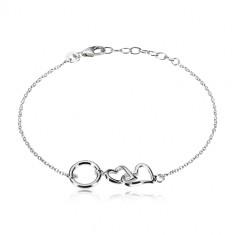 Zapestnica iz srebra 925 – sijoči srci in krog, manjši ovalni členi