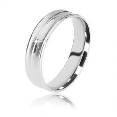 Poročni prstan iz srebra 925 – mat pasova in sijoč sredinski pas, 5 mm