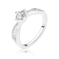 Zaročni prstan, srebro 925, valovita prepletena kraka, prozoren cirkon
