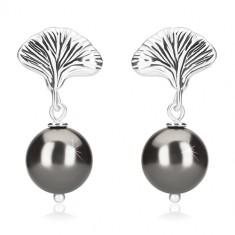 Uhani iz srebra 925 – kroglice v barvi hematita, školjka, čepki