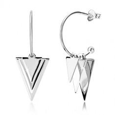 Uhani iz srebra 925 - sijoči trikotniki in kroglice, ozek lok s kroglico, čepki