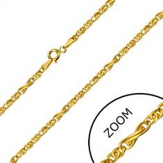 Verižica iz 14-k zlata - motiv neskončnosti in ploščati ovalni členi, 550 mm
