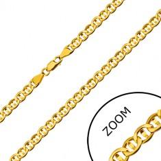 Verižica iz 14-k rumenega  zlata – ploščati členi, ločeni z zrnom, 600 mm