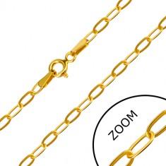 Zapestnica iz 14-k zlata – pravokotno povezani ovalni členi, obroček za zapenjanje, 200 mm