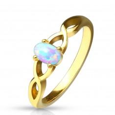 Jeklen prstan zlate barve – sintetični opal z mavričnim leskom, prepletena kraka