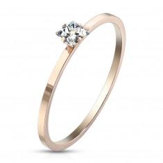 Jeklen zaročni prstan bakrene barve – kvadratast prozoren cirkon, sijoča površina