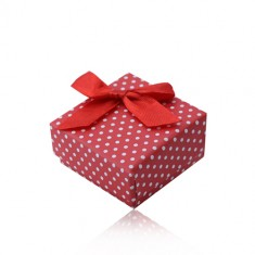 Rdeča darilna škatlica za prstan ali uhane, bele pike, pentlja