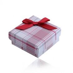 Darilna škatlica za prstan, uhane, obesek in ogrlico, rdeč karirast vzorec, pentlja