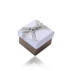 Belo-rjava darilna škatlica za prstan ali uhane - kremasta pentlja z rjavimi črkami