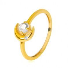 Prstan iz 9-karatnega zlata – polmesec s cirkonom, okrogel cirkon v obliki kabošona