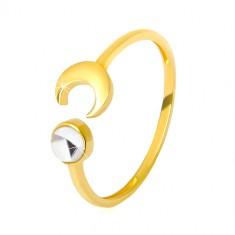 Prstan iz zlata 375 – sijoč polmesec, prozoren okrogel cirkon v obliki kabošona, gladka površina