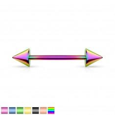 Piercing iz nerjavečega jekla - konici, titanova prevleka, različne barvne kombinacije, 7,5 mm