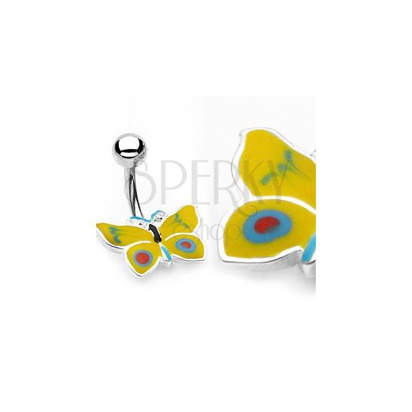 Uhan za popek z metuljem - rumene in modre barve