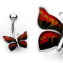 Piercing za popek – svetleč metulj