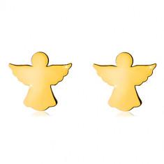 Uhani iz rumenega zlata 585 – izrezljana kontura angela z razprtimi krili, s čepki