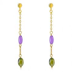 Uhani iz 14-karatnega zlata – viola in olivno zelen cirkon, tanka verižica