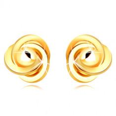 9K zlati uhani - trije obročki, prepleteni skupaj z gladko kroglico, zapenjanje s čepki
