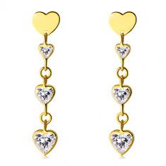 Sijoči uhani iz zlata 585 – svetleč prozoren cirkon v obliki srca, ploščato simetrično srce