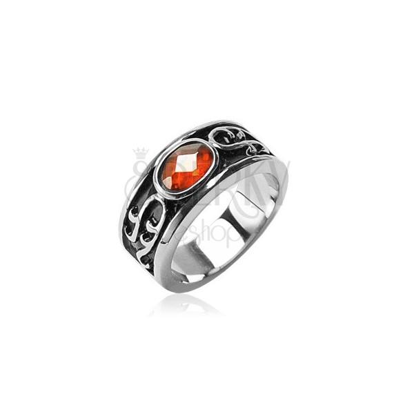 Prstan iz nerjavečega jekla - oranžen okrasni kamen in ornamenti