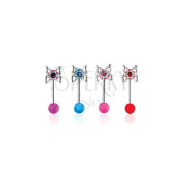 Piercing za obrvi z metuljem in okroglo UV-bunkico